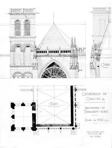 Balustrade du transept nord : Plan, coupe, élévation (plume et aquarelle)