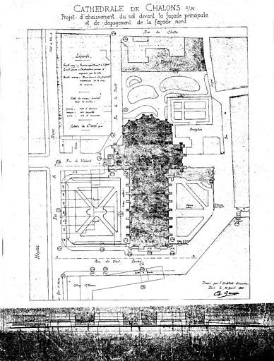 Projet d'abaissement du sol devant la façade principale et du dégagement de la façade nord : Plan et profil