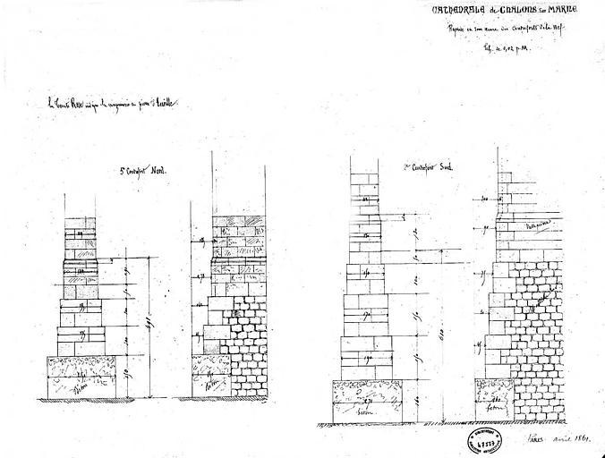 Reprise en sous-oeuvre des contreforts de la nef : Coupes des 5e et 2e contreforts