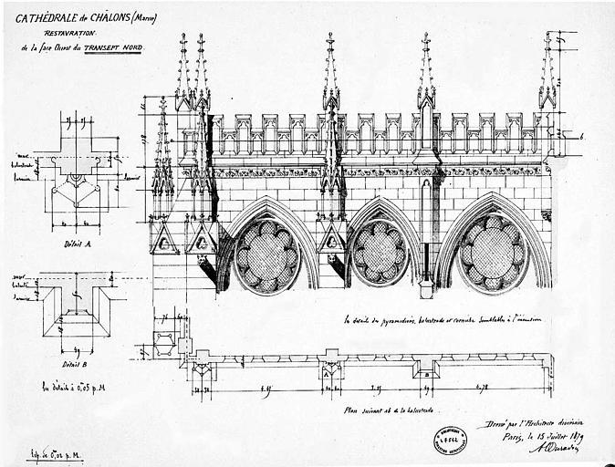 Restauration de la façade ouest du transept nord : Plan et élévation de balustrade