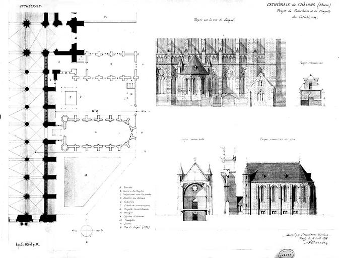 Projet de sacristies et de chapelle de cathéchismes : Plan, élévation, coupes