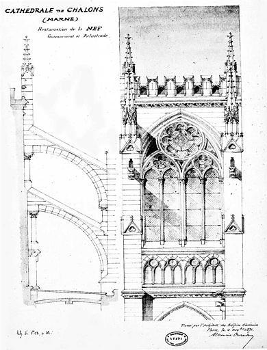 Restauration de la nef, couronnement et balustrade : Coupe et élévation
