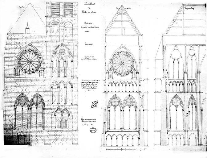 Restauration du portail méridional de la croisée : Coupes et élévation