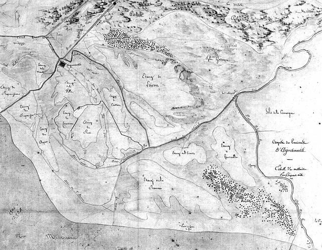 Plan des environs de la place (dessin aquarellé)