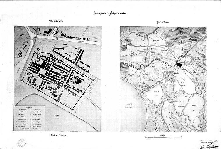 Plan de la ville et plan de situation (plume et aquarelle)