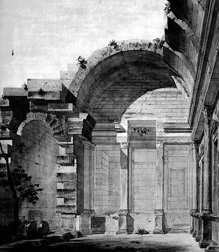 Temple de Diane : Vue perspective du côté opposé à l'entrée (dessin et aquarelle)