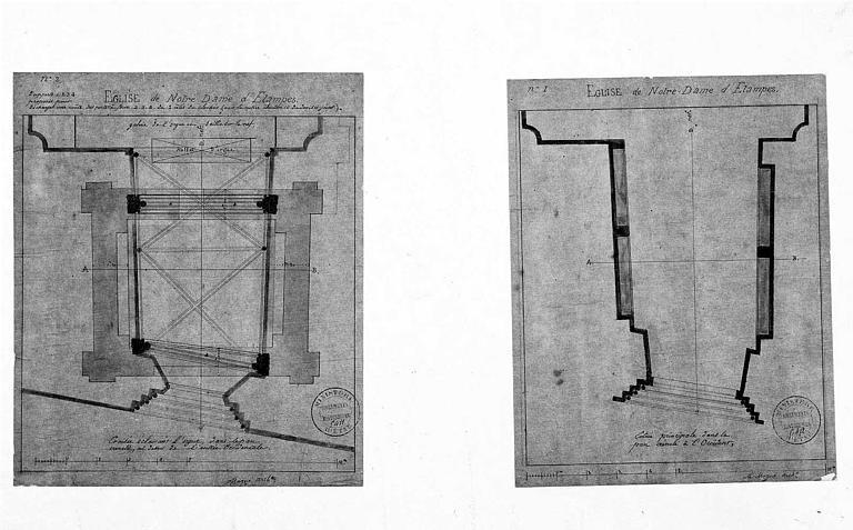 Plans de la façade occidentale au niveau de la tribune d'orgues et au niveau du portail