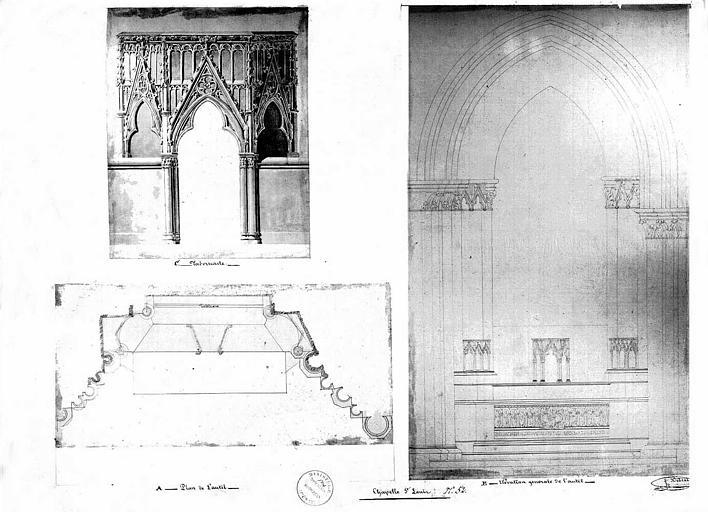 Autel de la chapelle Saint-Louis : Plan, élévation générale et élévation du tabernacle