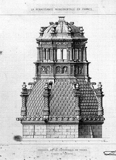 Gravure : Elévation de la coupole et de la lanterne du clocher
