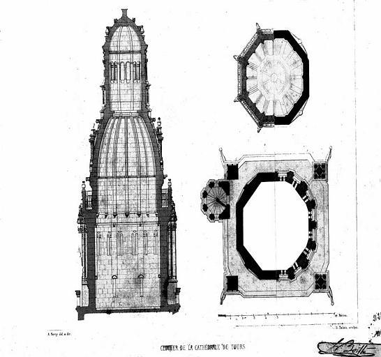 Gravure : Plan et coupe du clocher