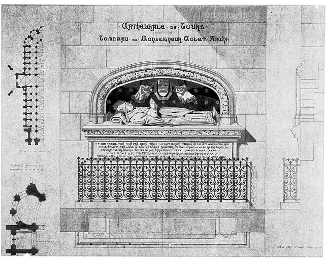 Tombeau de Monseigneur Colet, archevêque : Elévation et plan de situation