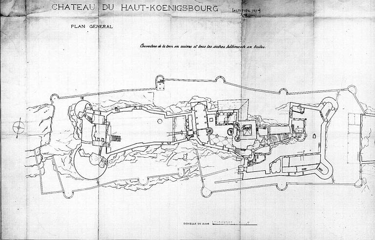 Plan général (partie gauche) : Couverture de la tour en cuivre et de tous les autres bâtiments en tuiles