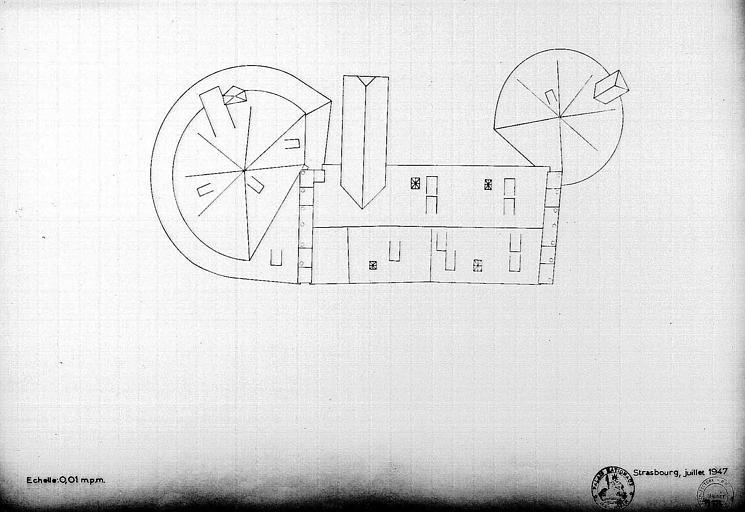 Plan des toitures du grand bastion