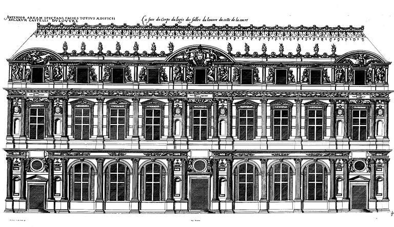 Gravure : Elévation de la façade de la cour Carrée
