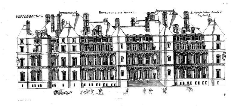 Gravure : Elévation de la façade principale et d'une façade latérale