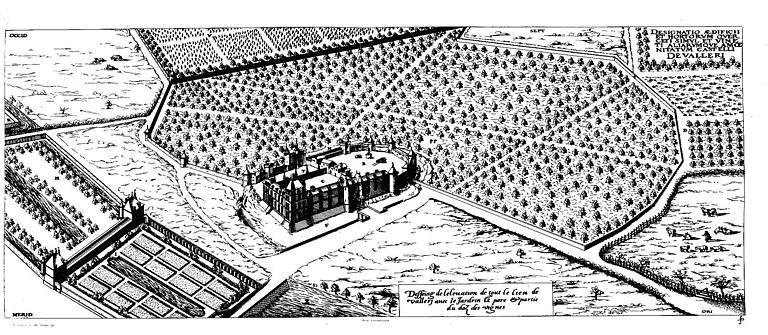 Gravure : Vue de l'ensemble du lieu de Vallery avec le jardin...
