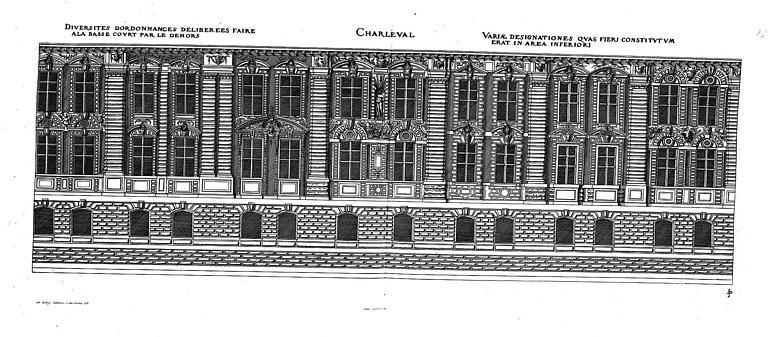 Gravure : Elévation de la façade sur la basse-cour