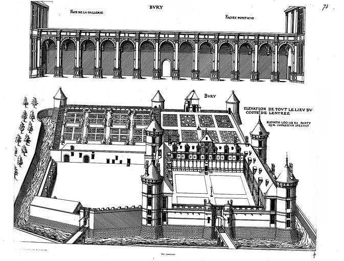 Gravure : Elévation de la façade du portique et vue générale du côté de l'entrée