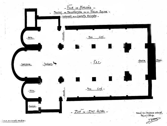 Projet de recouverture de la vieille église : Plan général au sol (état actuel)