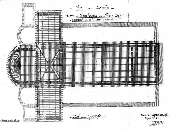Projet de recouverture de la vieille église : Plan de la charpente