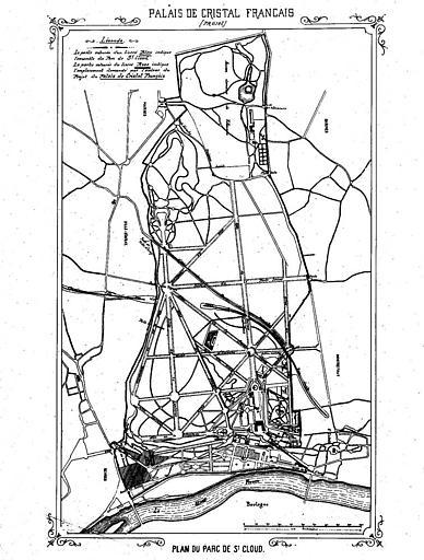 Gravure : Plan du parc de Saint-Cloud avec emplacement du projet du Palais de cristal français