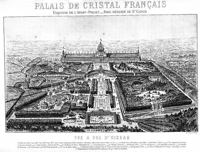 Gravure : Esquisse de l'avant-projet du parc réservé de Saint-Cloud, vue à vol d'oiseau