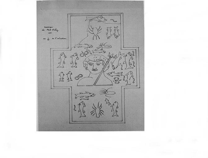 Relevé de la partie supérieure de la mosaïque (dessin à la plume)