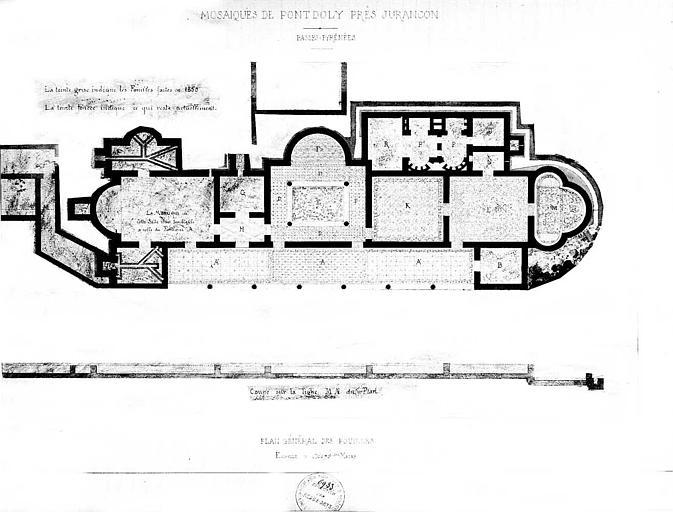 Plan général : Etat des fouilles et état actuel de la mosaïque (dessin aquarellé)