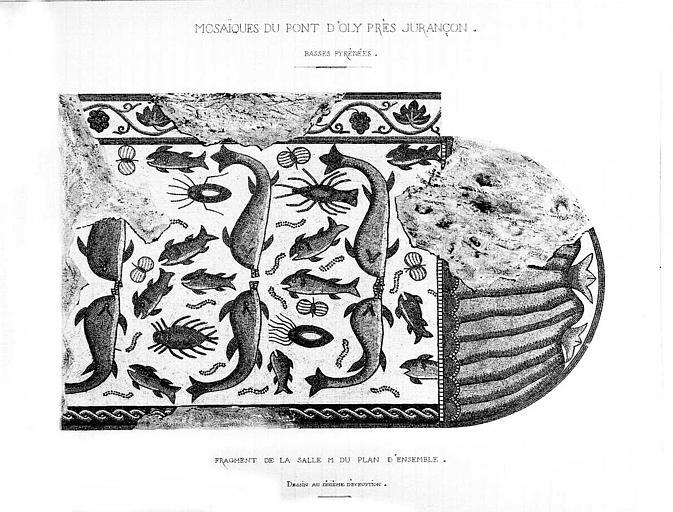 Dessin aquarellé : Fragment de mosaïque de la salle M de l'atrium