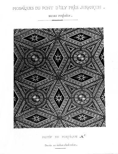 Dessin aquarellé : Motif de la mosaïque du portique A
