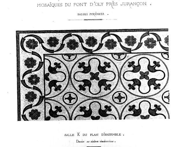Dessin aquarellé : Mosaïque de la salle K de l'atrium