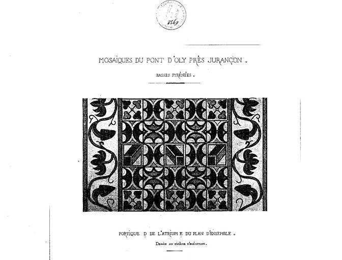 Dessin aquarellé : Mosaïque du portique de l'atrium