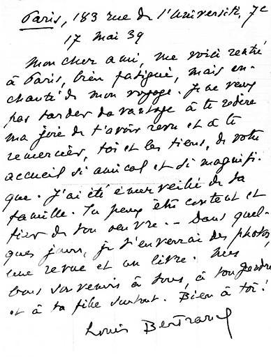 Lettre : Autographe de Louis Bertrand
