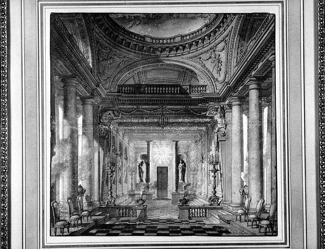 Dessin aquarellé : Vue perspective de la salle d'un palais