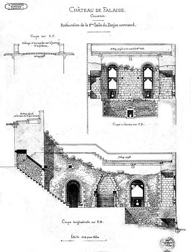 Restauration de la 2e salle du donjon normand : Coupes longitudinale et transversale