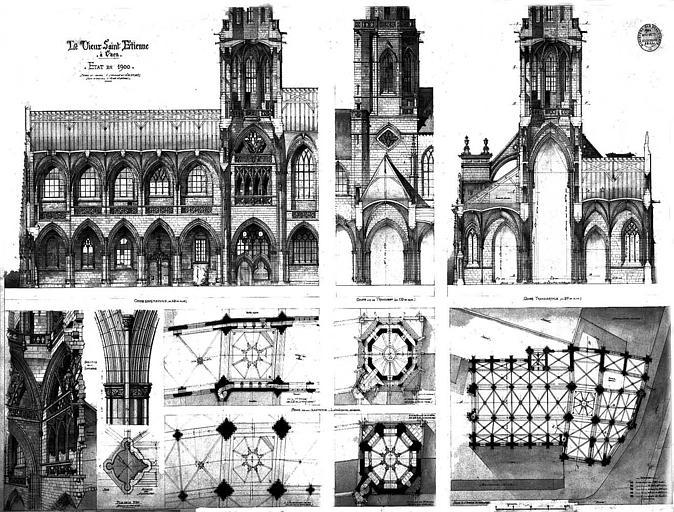 Plan, coupes, élévations, vue perspective et détails (état en 1900)