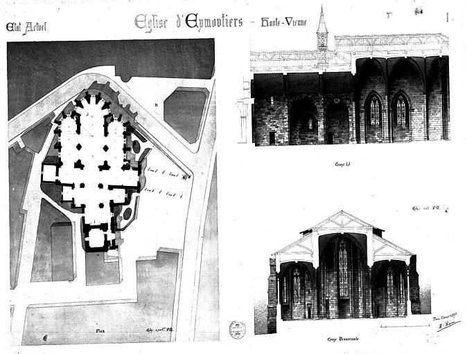 Plan, coupes longitudinale et transversale (état en 1887)