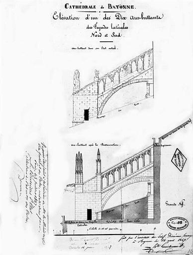 Elévation d'un des dix arcs-boutants des façades latérales nord et sud (état actuel et état restauré)