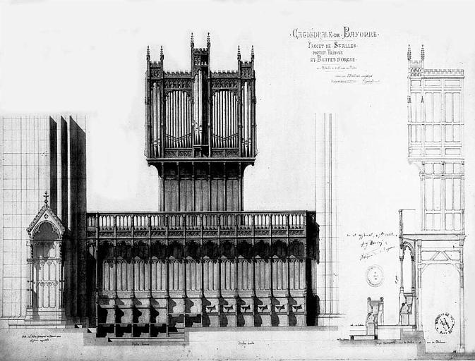 Projet de stalles portant tribune et buffet d'orgue