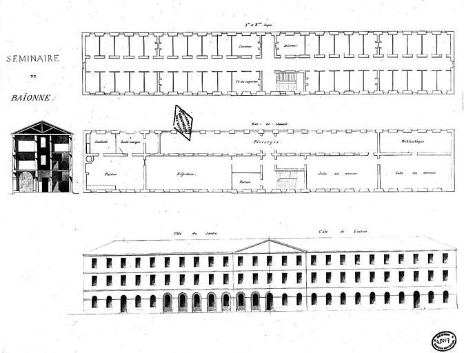 Plans du rez-de-chaussée et des 1e et 2e étages, élévation