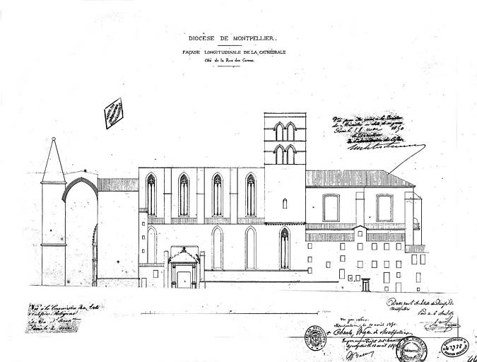Elévation de la façade longitudinale