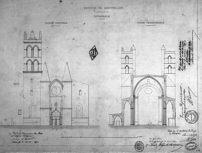 Elévation de la façade principale et coupe transversale