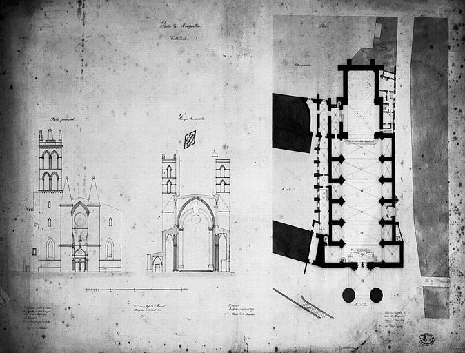 Elévation de la façade principale, coupe transversale et plan