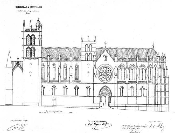 Plan de restauration et d'agrandissement de la toiture : Elévation de la façade sud