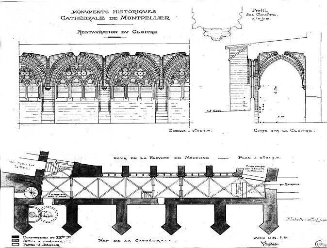 Restauration du cloître : Elévation de trois travées, coupe sur le cloître et plan