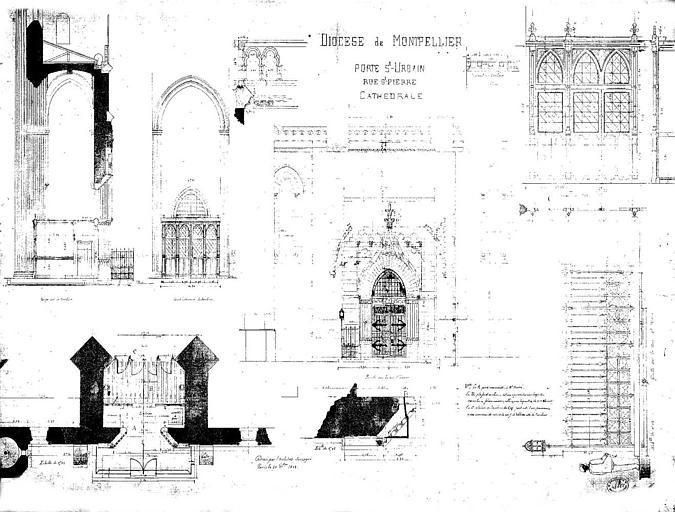 Plan de la porte Saint-Urbain, rue Saint-Pierre : Coupes, élévations et détails