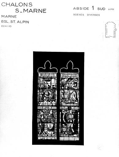 Scènes diverses, baie 1 de l'abside côté sud, panneau de vitrail