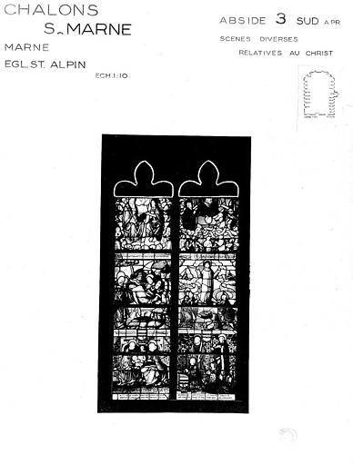 Scènes diverses relatives au Christ, baie 3 de l'abside côté sud, panneau de vitrail