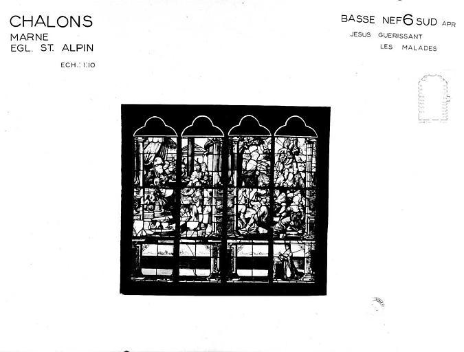 Jésus guérissant les malades, baie 6 de la basse-nef côté sud, panneau de vitrail