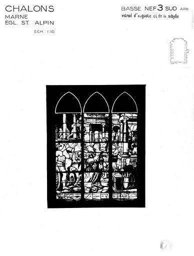 Auguste et la Sibylle, baie 3 de la basse-nef côté sud, panneau de vitrail
